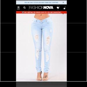 Fashion Nova My Faves Jeans- light Ripped Jeans